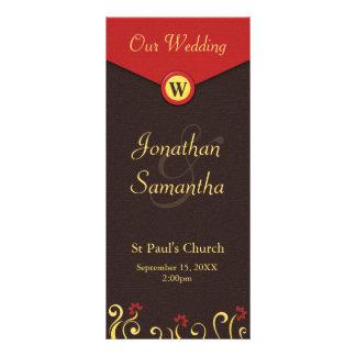 Brown Red Yellow Swirls Wedding Program Templates Rack Card Template