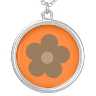 Brown Retro Flower Orange Custom Custom Jewelry