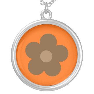Brown Retro Flower Orange Custom Round Pendant Necklace