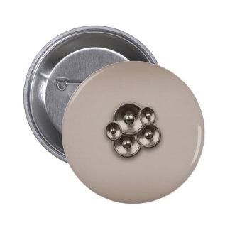 Brown retro music speakers 6 cm round badge