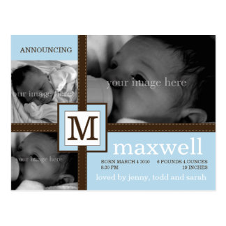 Brown Ribbon Baby Announcement Postcard
