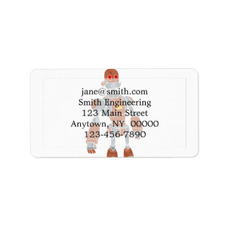 brown robot with lamp head address label