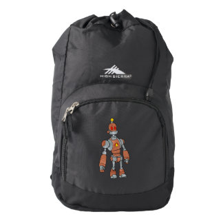 brown robot with lamp head backpack