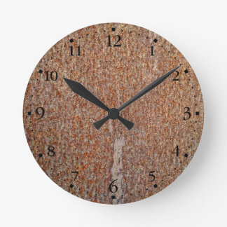 Brown Rusted Metal Corrosion Pattern Clockface 1 Round Clock
