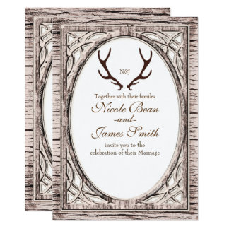 Brown Rustic Deer Antlers White Wood Invitation