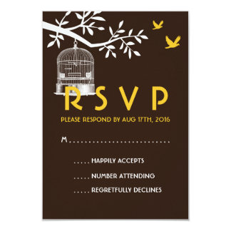 Brown Rustic Wedding RSVP Card Vintage Bird Cage 9 Cm X 13 Cm Invitation Card