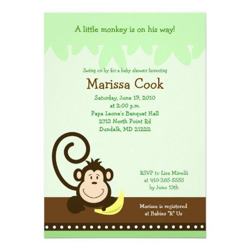 Brown Silly Monkey Jungle Boy Baby Shower 5x7 Invites