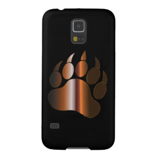 BROWN STEEL BEAR PAW ON BLACK CASE FOR GALAXY S5