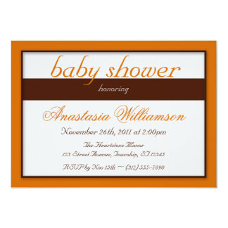 Brown Stripe Orange Baby Shower Invitations