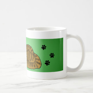 Brown Striped Cartoon Kitty Green Coffee Mug