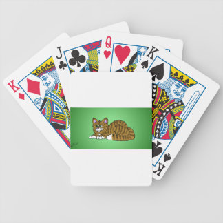 Brown Striped Cartoon Kitty with Green Background Bicycle Playing Cards