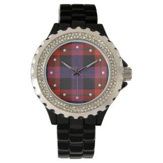 Brown Tartan Rhinestone Watch