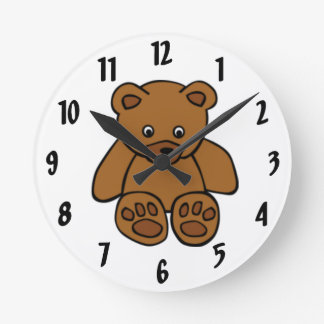 Brown Teddy Bear Wall Clocks