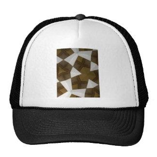 Brown Tone Geometric Pattern Mesh Hat