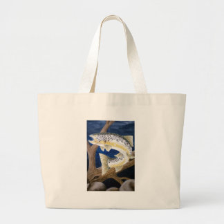 Brown Trout Large Tote Bag