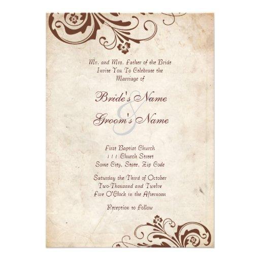 Brown Vintage Floral Chic Wedding Invitation