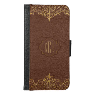 Brown Vintage Leather Gold Lace Frame Samsung Galaxy S6 Wallet Case