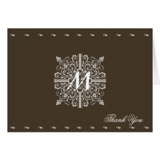 Brown Vintage Monogram Business Card