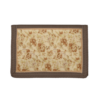 Brown Wallet w/ Gold Vintage flowers