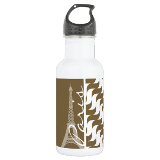 Brown Wave; Eiffel Tower 532 Ml Water Bottle