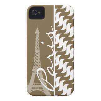 Brown Wave; Eiffel Tower iPhone 4 Case-Mate Cases