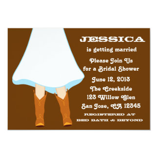 Brown Western Bridal Shower 13 Cm X 18 Cm Invitation Card