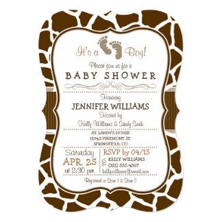 Brown, White Giraffe Animal Print Baby Shower 5x7 Paper Invitation Card