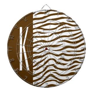 Brown & White Zebra Stripes Animal Print Dartboard