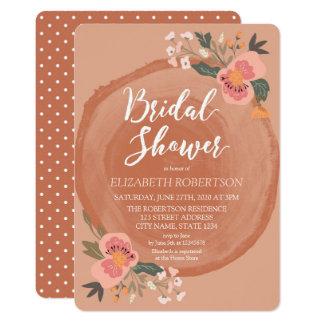 Brown Wood Rustic Floral Bridal Shower Card