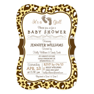 Brown, Yellow Leopard Animal Print Baby Shower 5x7 Paper Invitation Card