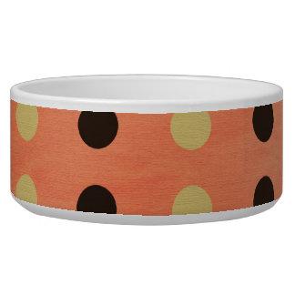Brown, Yellow, Orange Polka Dots Dog Pet Bowl