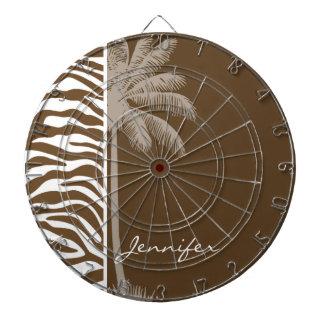 Brown Zebra Animal Print; Palm Dartboard