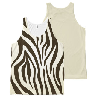 Brown zebra pattern  All-Over Printed Unisex Tank