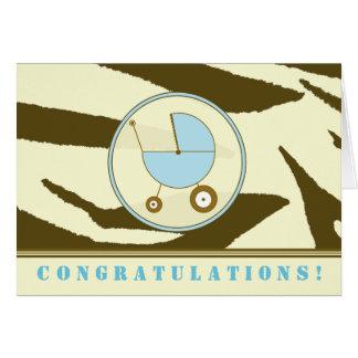 Brown Zebra Print / Blue Baby Congratulations Card