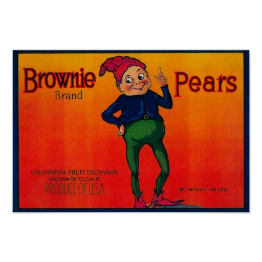 Brownie Pear Crate Label Poster