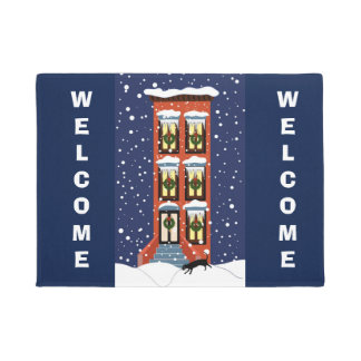 Brownstone Illustration on Door Mat with Welcome