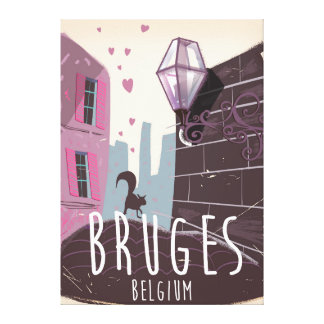 Bruges, Belgium cartoon travel poster Canvas Print