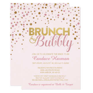 Brunch & Bubbly Glitter Bridal Shower Invitation