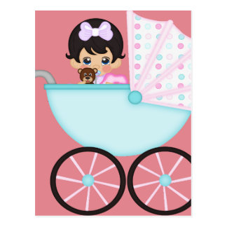 Brunette Baby Girl in Pink Carriage Postcard