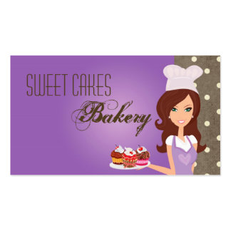 Brunette Baker Purple Cup Cakes Business Card
