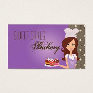 Brunette Baker Purple Cup Cakes Business Card