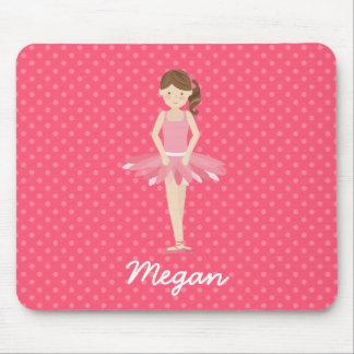 Brunette Ballerina on Pink Polka Dots 2 Mouse Pad