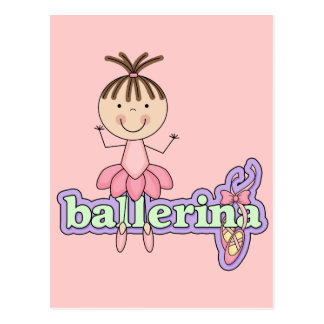 Brunette Ballerina - Pink Tshirts and Gifts Postcard
