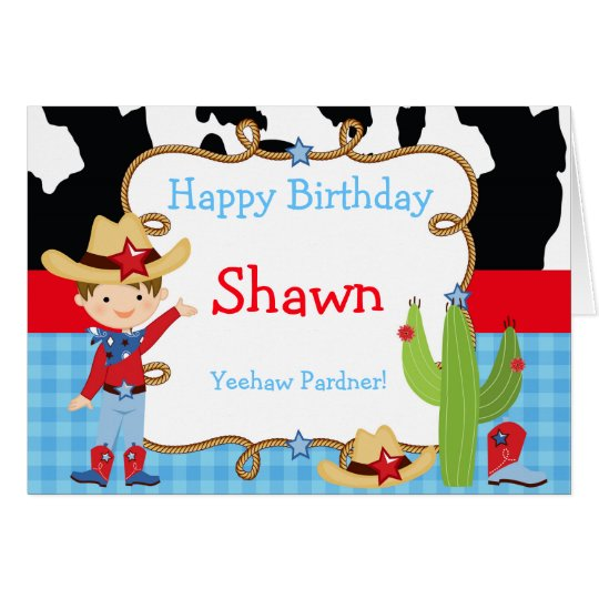 Brunette Cowboy Western Birthday Card