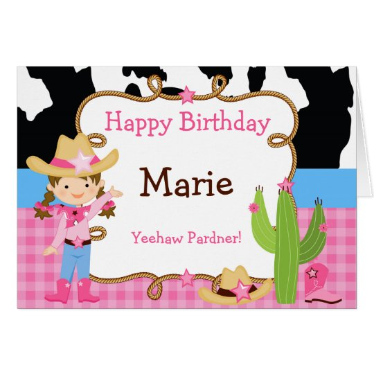 Brunette Cowgirl Western Birthday Card