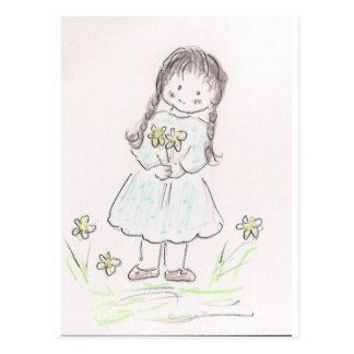 Brunette Flower Girl Postcard