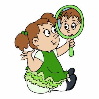 Brunette girl green dress standing photo sculpture