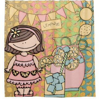 Brunette Girl Lemonade Stand Shower Curtain