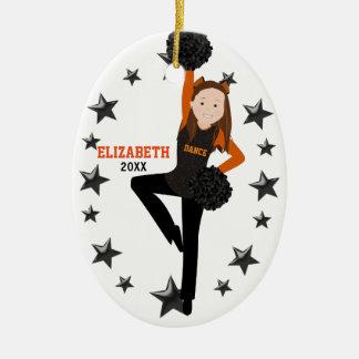 Brunette Pom Squad Orange & Black Christmas Ornament