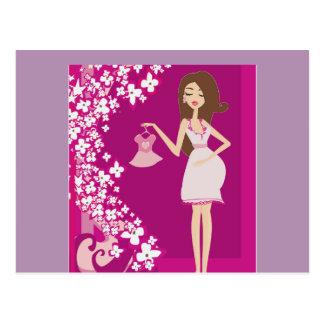 brunette pregnant woman postcard